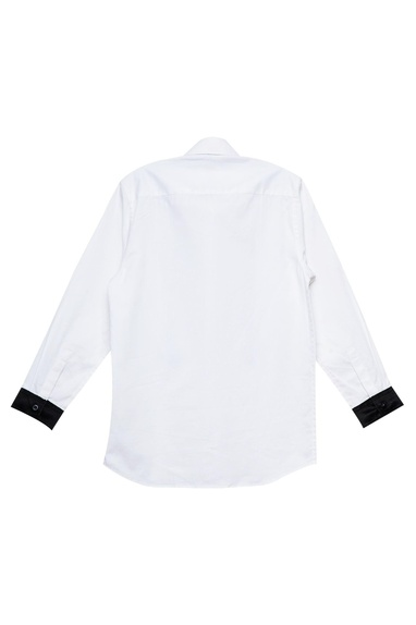 White & black cotton shirt with patched suspenders