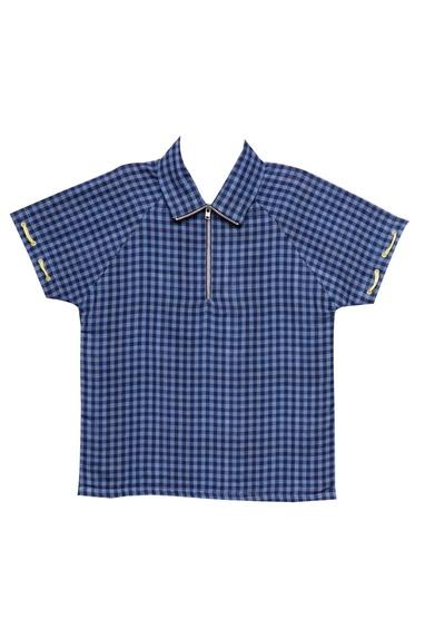 Sapphire blue cotton semi-formal thread work shirt with tuxedo collar