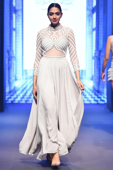 Grey georgette flared long sleeve gown