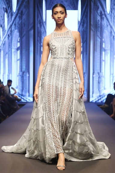 Grey & silver hand-finished embellished flared gown