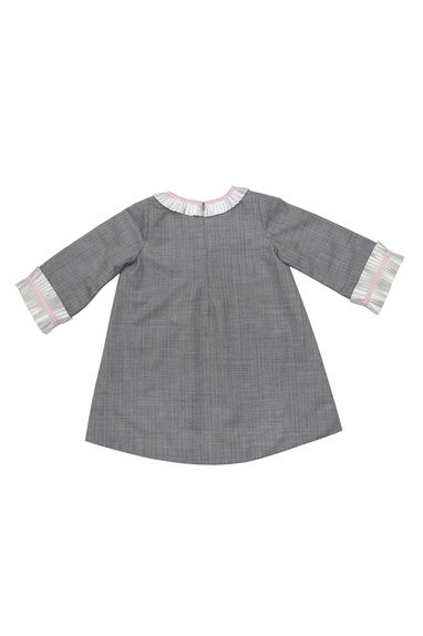 Grey wool pleated detail dress