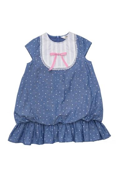 Blue cotton star print balloon dress with bib & lace detail