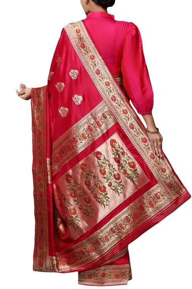 Deep pink mulberry silk brocade saree with blouse piece