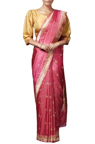 Pink  mulberry silk brocade saree with blouse piece