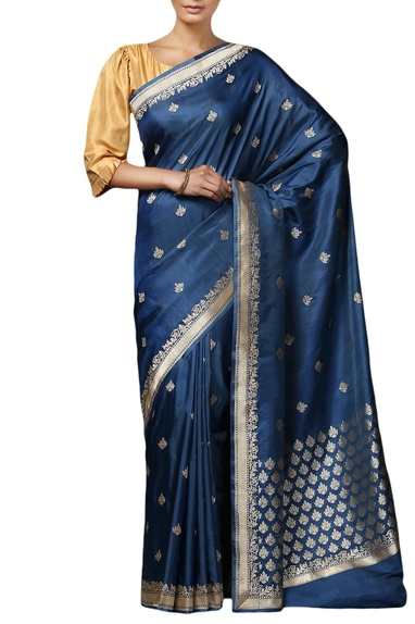 Blue  mulberry silk brocade saree with blouse piece