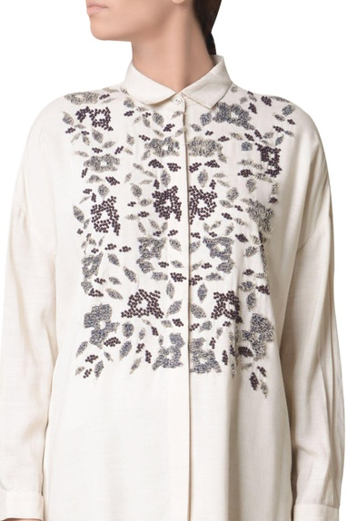 Off white viscose slub terry cloud machine embroidered shirt