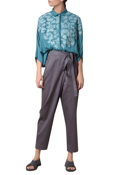 Charcoal grey cotton tie-up trousers