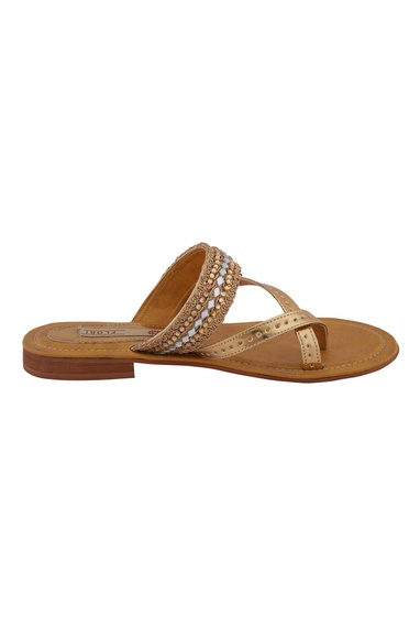 Gold synthetic embellished flats