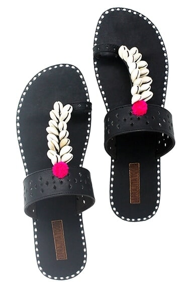 Black shell work kolapuri sandals
