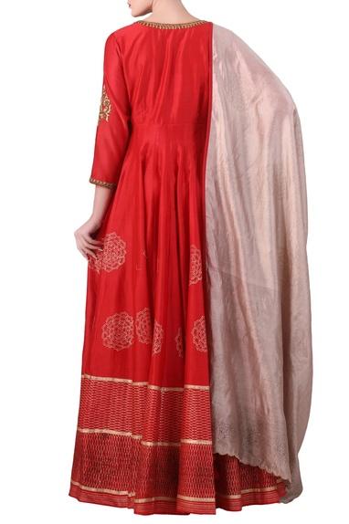 Red cotton silk block print anarkali kurta with beige cotton silk dupatta