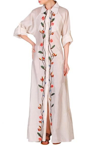 Ivory cotton silk thread & zari work dress
