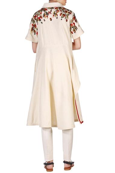 Beige cotton silk thread & zari embroidered high-low kurta with churidar pants