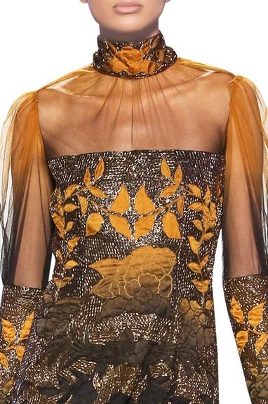 Mustard & black tulle net floral satin applique short dress