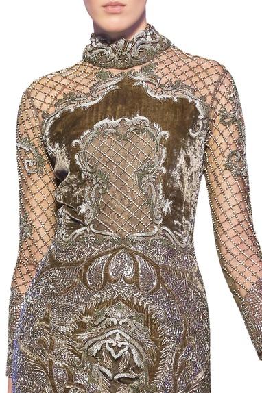 Pista green tulle net hand embroidered short dress