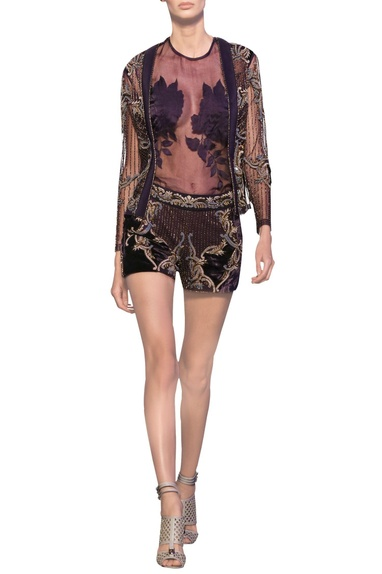 Charcoal grey tulle net, organza & satin embroidered & french knots jacket with blouse & shorts