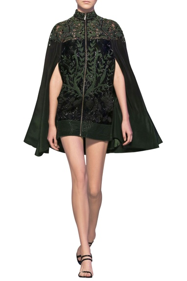Bottle green & black tulle net & silk crepe applique short jacket cape dress
