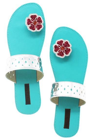 Turquoise floral beadwork paduka sandals