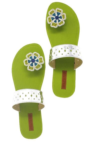 Green floral beadwork paduka sandals