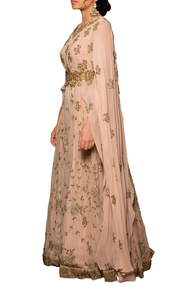 Pale pink tulle net & georgette machine & hand embroidered gown