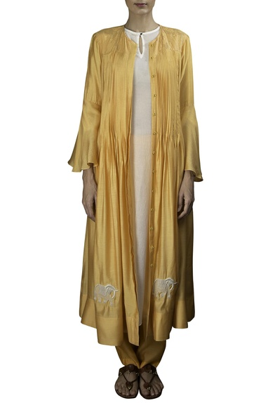 Mango yellow soft silk pin tucked open jacket with off white crushed inner