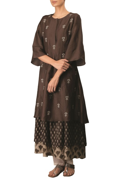 Coffee cotton linen embroidered long flared & layered kurta