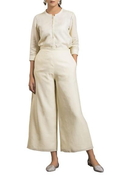 Ivory flowy linen palazzo pants