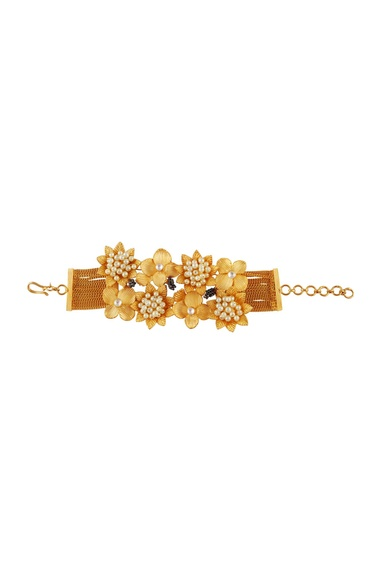 Pearl encrusted floral bracelet