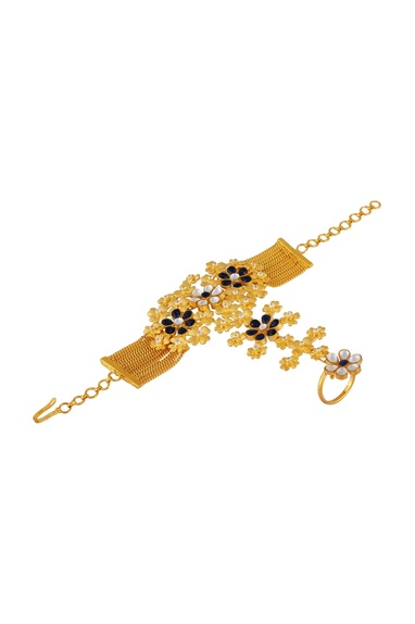 Floral kundan haathpool with chain
