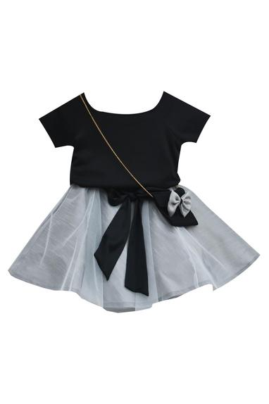 Black net, silk & lycra top with grey frilled skirt
