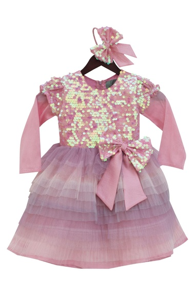 Baby pink net & silk sequin yoke frilled frock