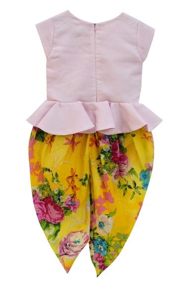 Baby pink cotton peplum top with yellow printed dhoti