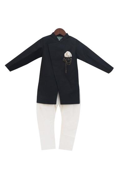 Black linen & cotton silk ajkan with churidar