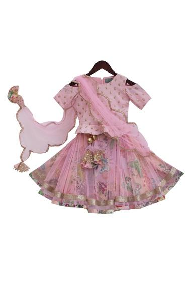 Baby pink silk & net embroidered choli with printed lehenga & dupatta