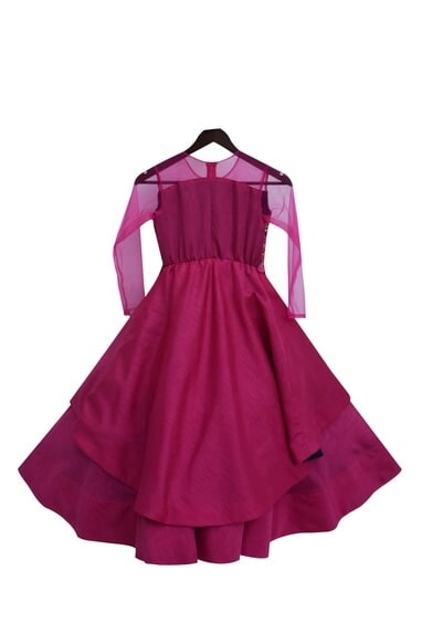 Pink dupion silk embroidered anarkali gown