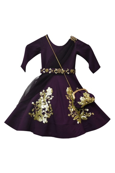 Purple georgette & crepe silk anarkali