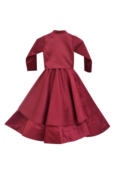 Maroon dupion silk draped gown with jacket