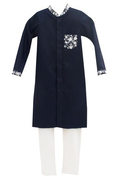 Dark blue dupion silk & cotton silk embroidered ajkan with churidar