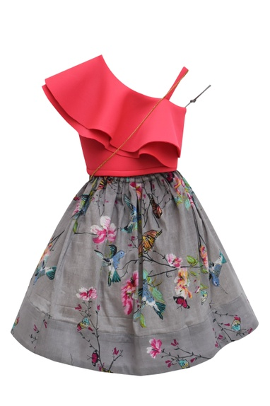 Pink one-shoulder top with grey printed skirt