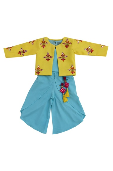 Blue satin & georgette crop top with dhoti & yellow embroidered jacket