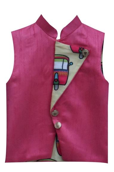 Pink linen nehru jacket with contrast print