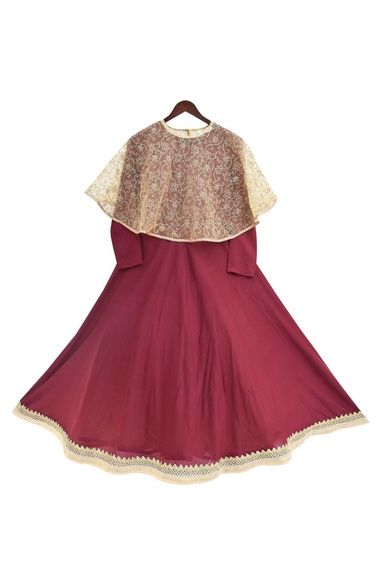 Burgandy modal & net anarkali with cape