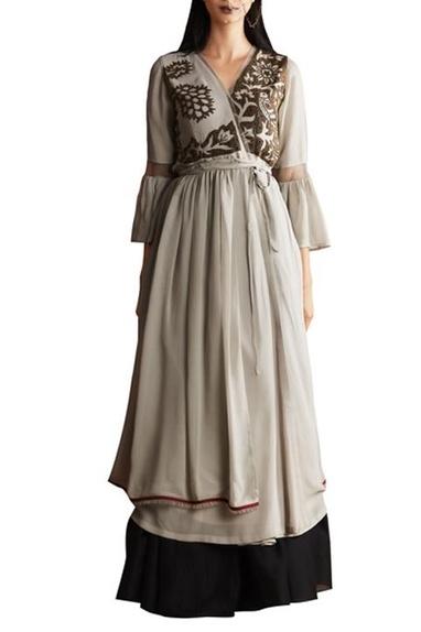 Grey georgette & chanderi anarkali with skirt