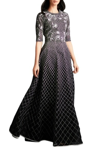 Black organza silk checkered pattern evening gown