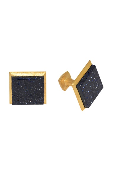Black & gold plated brass handcrafted square cufflinks