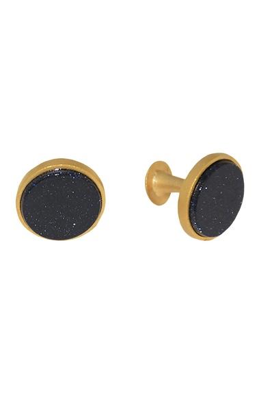 Black brass handcrafted circular cufflinks