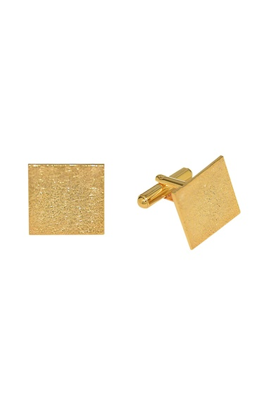 Gold plated handcrafted square shaped cufflinks