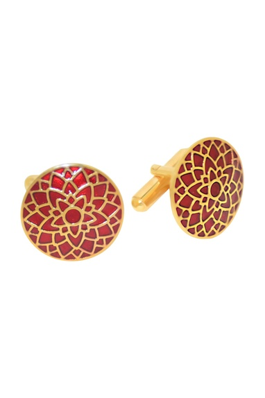 Red & gold handcrafted cufflinks
