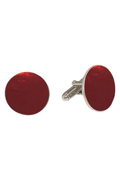 Red circular handcrafted cufflinks