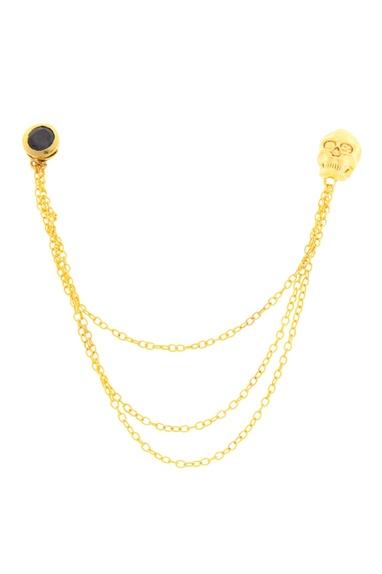 Gold brass skull collar pin