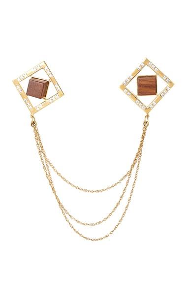 Gold plated swarovski crystal collar pin